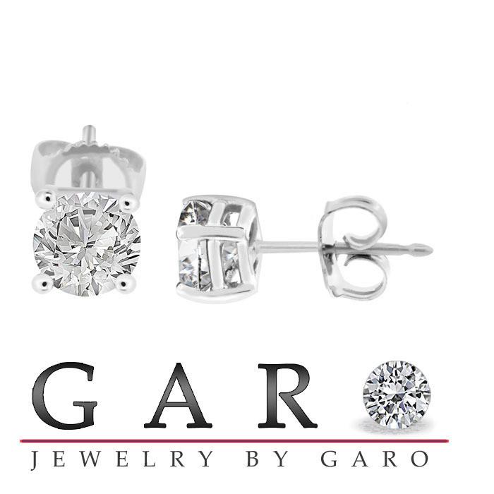 6f1607a120f Diamond Stud Earrings 14K White Gold 0.78 Carat G SI2 Certified Handmade