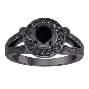 1.58 Carat Black Diamond Cocktail Ring Vintage Style Halo Pave Unique 14k Black Gold