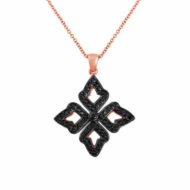 Fancy Black Diamonds Pendant, Leaf Pendant Necklace 14K Rose Gold, 0.60 Carat Handmade Unique