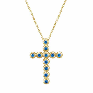14K Yellow Gold Blue Diamond Cross Pendant Necklace 0.40 Carat HandMade Fine Bezel Set
