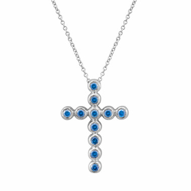 Blue Diamond Cross Pendant Necklace 18k White Gold 0.40 Carat Handmade