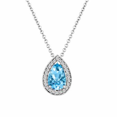Platinum Pear Shape Aquamarine & Diamond Pendant Necklace 0.84 Carat Handmade micro pave Birthstone