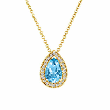 14K YELLOW GOLD AQUAMARINE & DIAMOND PEAR SHAPE PENDANT NECKLACE 0.84 CARAT PAVE