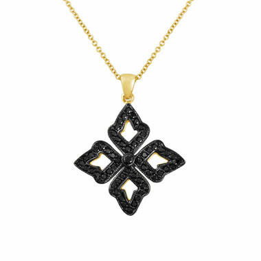 Leaf Pendant Necklace 18K Yellow Gold, Black Diamond Pendant, 0.60 Carat Pave Set HandMade