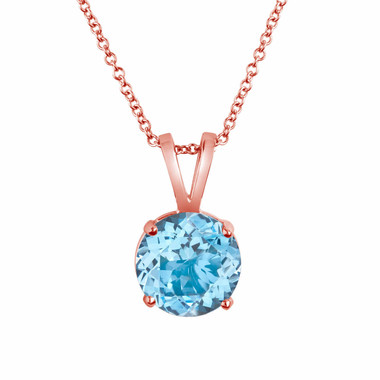 1.70 Carat 14K Rose Gold Aquamarine Solitaire Pendant Necklace Handmade birthstone