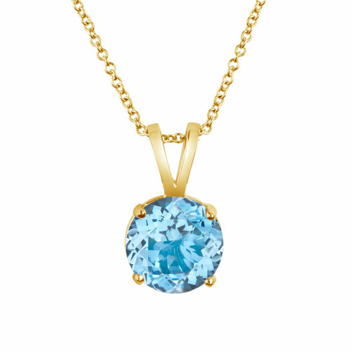 1.70 Carat Aquamarine Solitaire Pendant Necklace 14K Yellow Gold Handmade birthstone