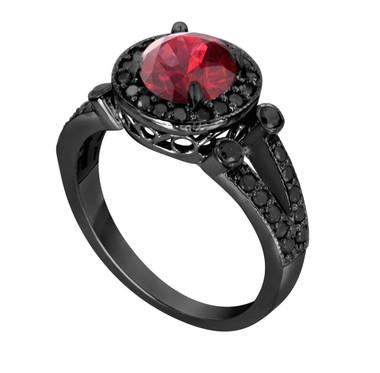 Garnet Engagement Ring, Garnet Bridal Ring, Wedding Ring Vintage Style 14k Black Gold 1.77 Carat Unique Halo HandMade Birth Stone