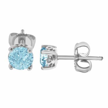 1 Carat Aquamarine Stud Earrings 14K White Gold Handmade Gallery Designs Birthstone