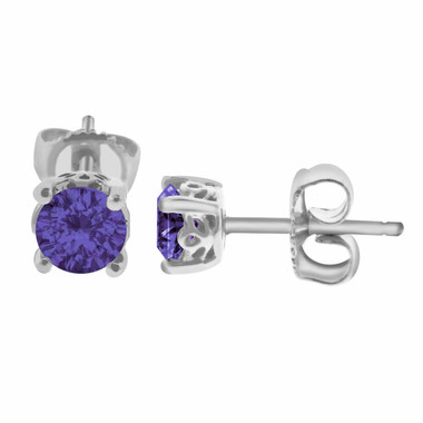 AMETHYST STUD EARRINGS 14K WHITE GOLD 1.00 CARAT HAND MADE GALLERY DESIGNS!!