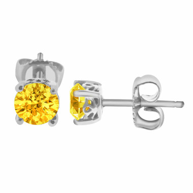 CITRINE STUD EARRINGS 14K WHITE GOLD 1.00 CARAT HAND MADE GALLERY DESIGNS!!