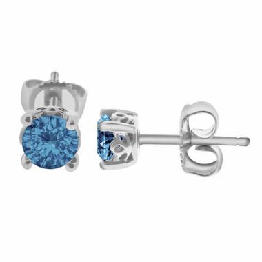 London Blue Topaz Stud Earrings 1.00 Carat 14K White Gold Handmade