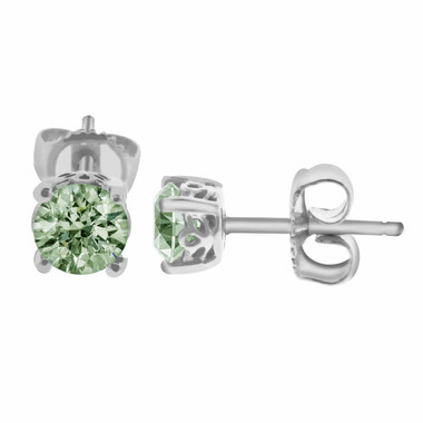 GREEN AMETHYST STUD EARRINGS 14K WHITE GOLD 1.00 CARAT HAND MADE GALLERY DESIGNS!!