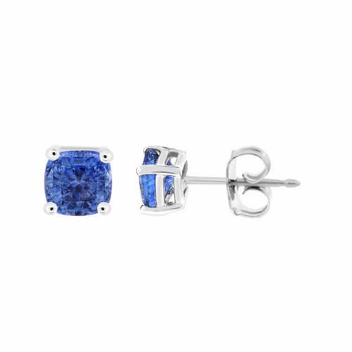 1.38 Carat Cushion Cut Ceylon Blue Sapphire Stud Earrings 14k White Gold Handmade
