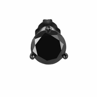 1.50 Carat Fancy Black Diamond Single Stud Earring Vintage Style 14K  Black Gold