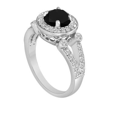 Natural Black & White Diamond Cocktail Ring 1.58 Carat 14k White Gold HandMade