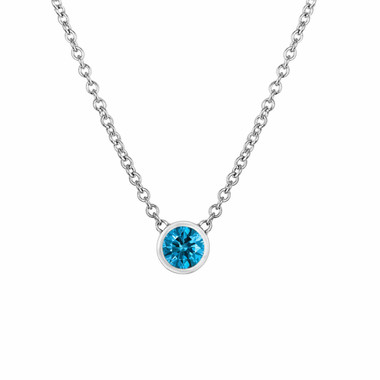 0.25 Carat Blue Diamond By The Yard Solitaire Pendant Necklace 14k White Gold Handmade Low Bezel Set