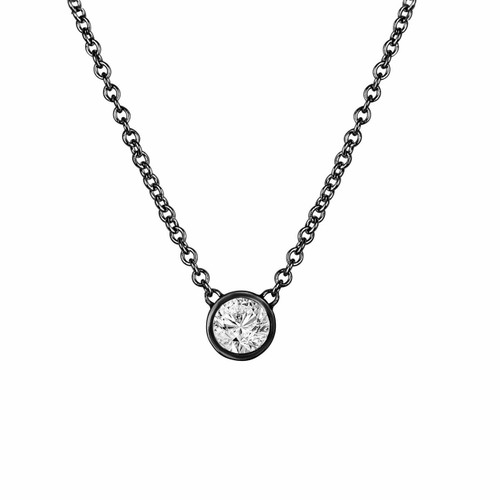 0.50 Carat Diamond Solitaire Pendant Necklace, Diamond By The Yard Necklace, Vintage Style 14k Black Gold Handmade Low Bezel Set