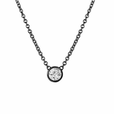 0.50 Carat Diamond Solitaire Pendant Necklace, Diamond By The Yard Necklace, Vintage Style 14k Black Gold Handmade Low Bezel Set
