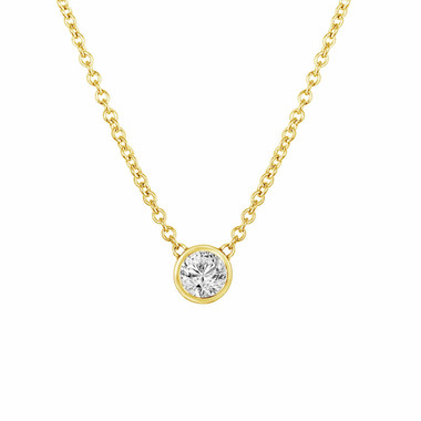 0.50 Carat Solitaire Diamond By The Yard Necklace Pendant 14k Yellow Gold HandMade Low Bezel Set