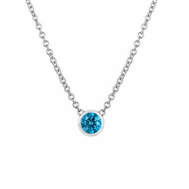 Blue Diamond Solitaire Pendant, Diamond By The Yard Necklace, Solitaire Pendant Necklace, 14k White Gold Handmade Low Bezel Set