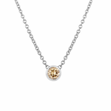 0.25 Carat Solitaire Champagne Diamond By The Yard Necklace Pendant 14k White Gold HandMade Low Bezel Set