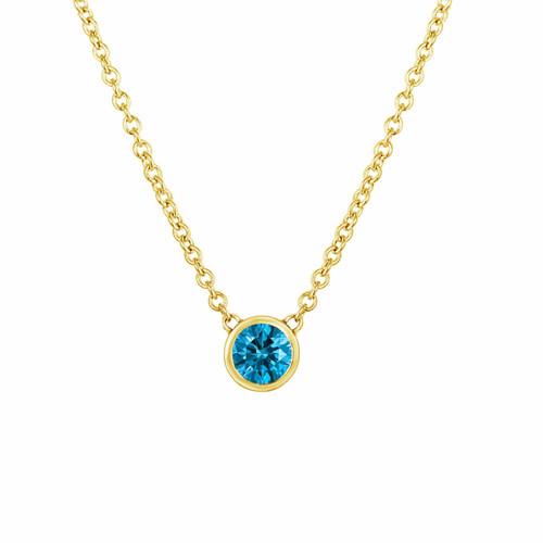 Fancy Blue Diamond By The Yard Solitaire Pendant Necklace 0.25 Carat 14k Yellow Gold Handmade Low Bezel Set