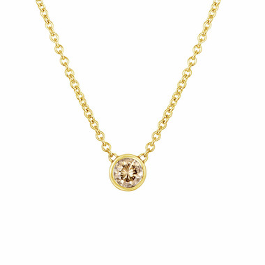 0.25 Carat Solitaire Champagne Diamond By The Yard Necklace Pendant 14k Yellow Gold HandMade Low Bezel Set