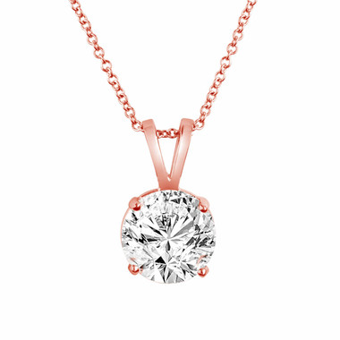 Natural Diamond Solitaire Pendant Necklace 1.01 Carat 14K Rose Gold handmade Certified