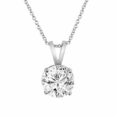 14K White Gold Solitaire Diamond Pendant Necklace 0.50 Carat handmade Certified
