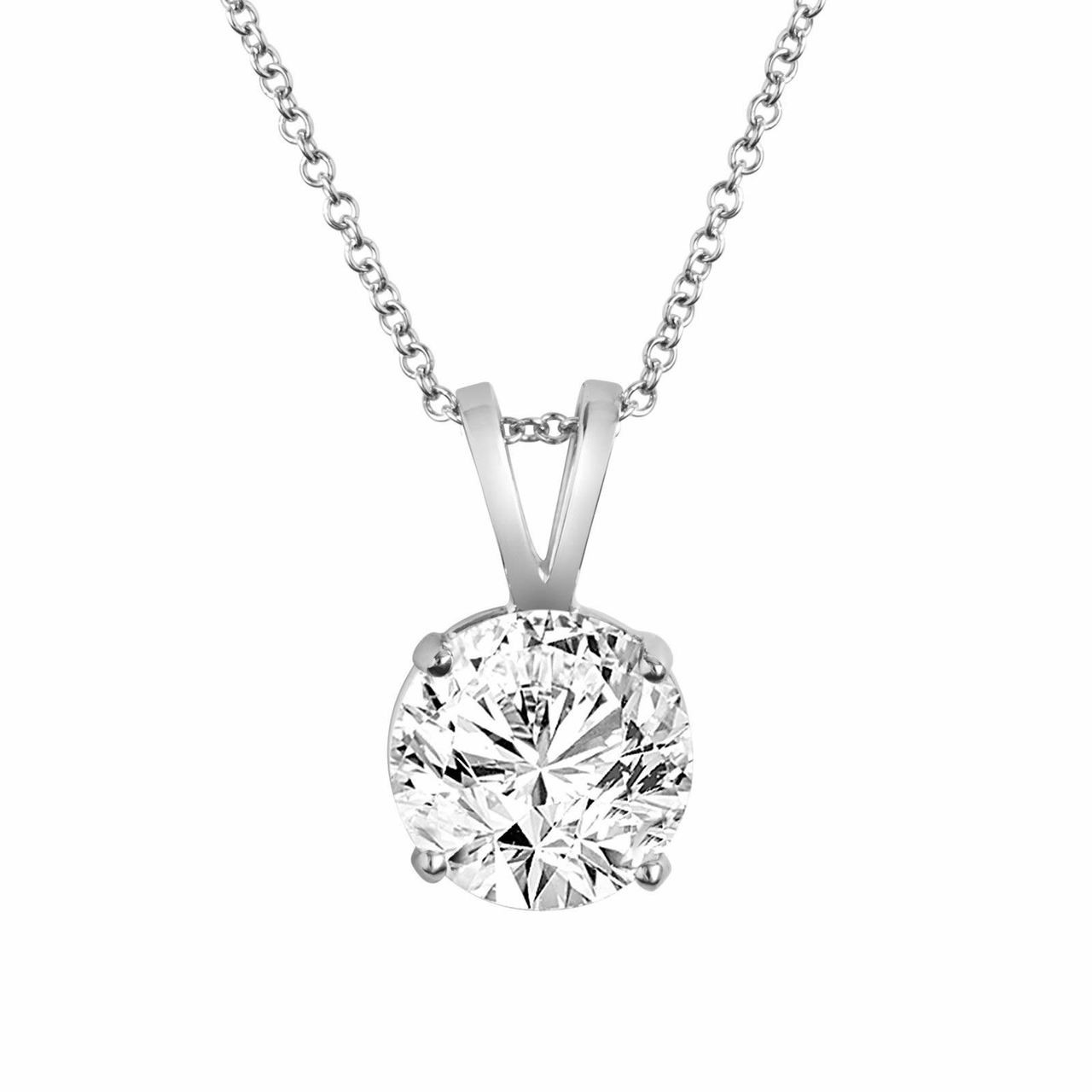 Natural Diamond Solitaire Pendant Necklace 0 65 Carat 14k