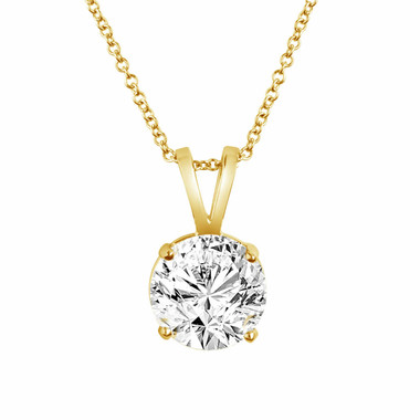 14K Yellow Gold Natural Diamond Solitaire Pendant Necklace 0.50 Carat handmade 14k Rose Gold