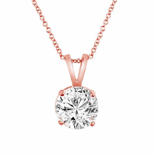 14K Rose Gold Solitaire Diamond Pendant Necklace 0.50 Carat handmade Certified