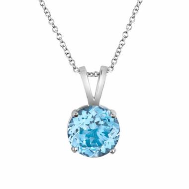 Platinum 1.70 Carat Aquamarine Solitaire Pendant Necklace Certified HandMade