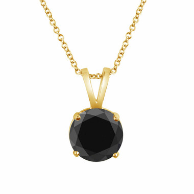 1.08 Carat 14K Yellow Gold Fancy Black Diamond Solitaire Pendant Necklace HandMade