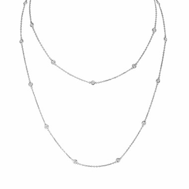"Diamond By The Yard Necklace 36"" Inch 14k White Gold 1.04 Carat Certified"