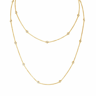 "Diamond By The Yard Necklace 36"" Inch 14k Yellow Gold 1.04 Carat Certified"