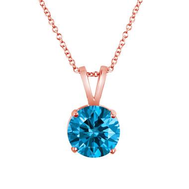 Greenish Blue Diamond Solitaire Pendant Necklace 1.20 Carat 14k Rose Gold Certified Handmade