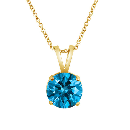 Certified 1.20 Carat 14k Yellow Gold Greenish Blue Diamond Solitaire Pendant Necklace Handmade