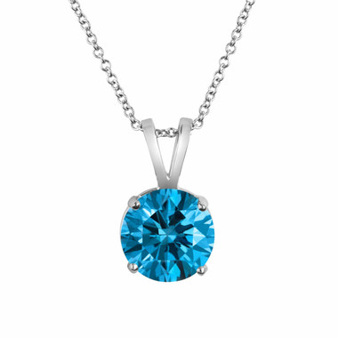 Fancy Blue Diamond Solitaire Pendant Necklace Certified 1.50 Carat 14K White Gold Handmade