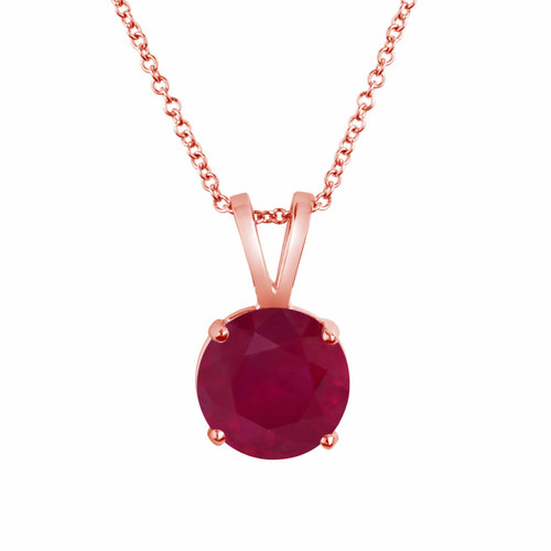 14k Rose Gold Ruby Solitaire Pendant Necklace 1.04 Carat Certified Handmade Birthstone Pink Gold Red Ruby