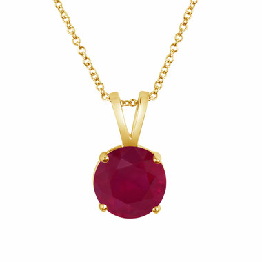 14k Yellow Gold Ruby Solitaire Pendant Necklace 1.04 Carat Certified Handmade Birthstone