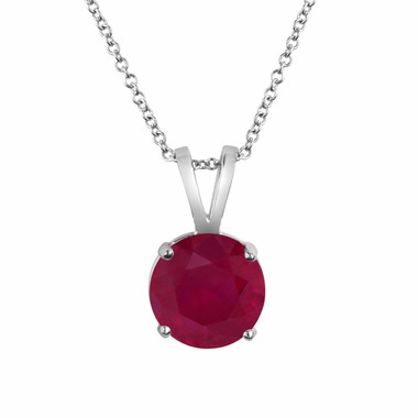 0.60 Carat Ruby Solitaire Pendant Necklace 14k White Gold Certified Handmade Birthstone Red Ruby