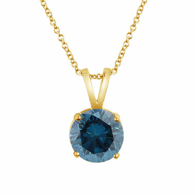 Blue Diamond Solitaire Pendant Necklace 14K Yellow Gold Certified 1.00 Carat Handmade