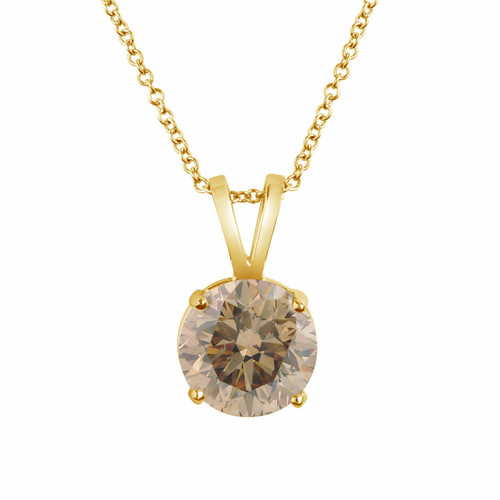 Certified 1.01 Carat 14k Yellow Gold Champagne Brown Diamond Solitaire Pendant Necklace Handmade