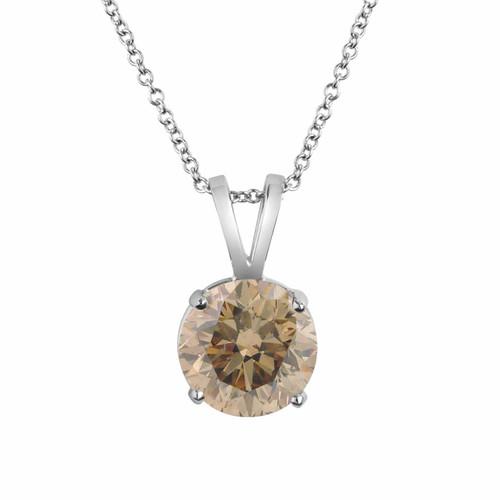 Platinum Champagne Brown Diamond Solitaire Pendant Necklace Certified 1.01 Carat Handmade