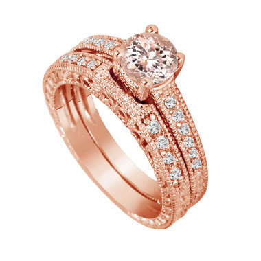 Morganite & Diamond Engagement Ring 14K Rose Gold 0.75 Carat And Wedding Anniversary Diamond Band Sets Vintage Style Engraved Handmade
