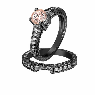 Morganite & Diamond Engagement Ring And Wedding Anniversary Diamond Band Sets Vintage Style 14K Black Gold 0.75 Carat Antique Style Engraved