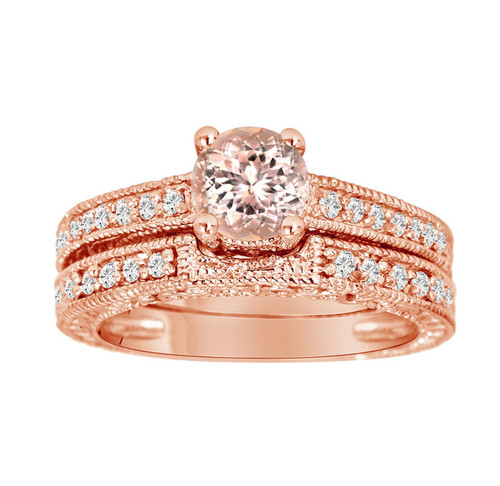 Morganite & Diamond Engagement Ring 14K Rose Gold 1.01 Carat And Wedding Anniversary Diamond Band Sets Vintage Style Engraved Handmade