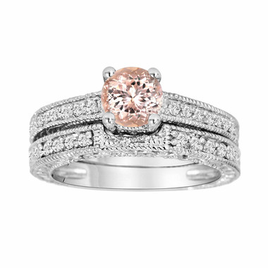 Morganite & Diamond Engagement Ring And Wedding Anniversary Diamond Band Sets 14K White Gold 1.01 Carat Antique Style Engraved Handmade