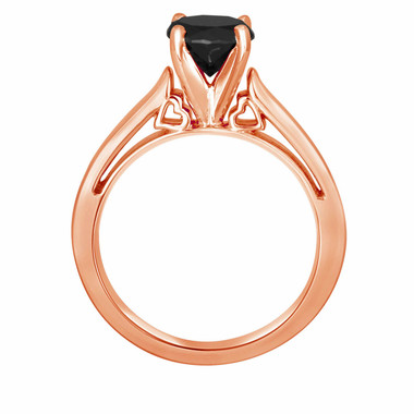 Fancy Black Diamond Solitaire Engagement Ring 14k Rose Gold 1.07 Carat Heart Designs handmade